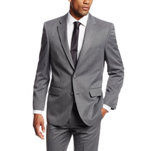 Custom Made Simple Suits Men Gray Wedding Suits Grooms Tuxedos Mens Suits Slim Fit Beach Groomsmen Suits (Jacket+Pants)