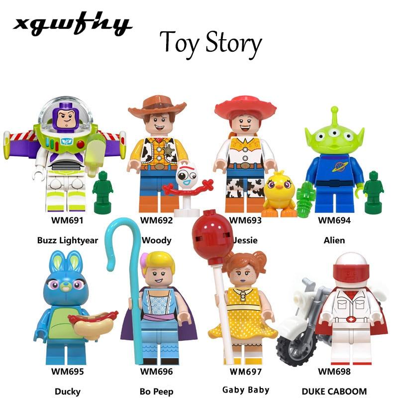 1Pcs Mobilization Minifigured Woody Jessie Toy Alien Bulleye Rex Hamm Building Blocks Children's Toys JM-259