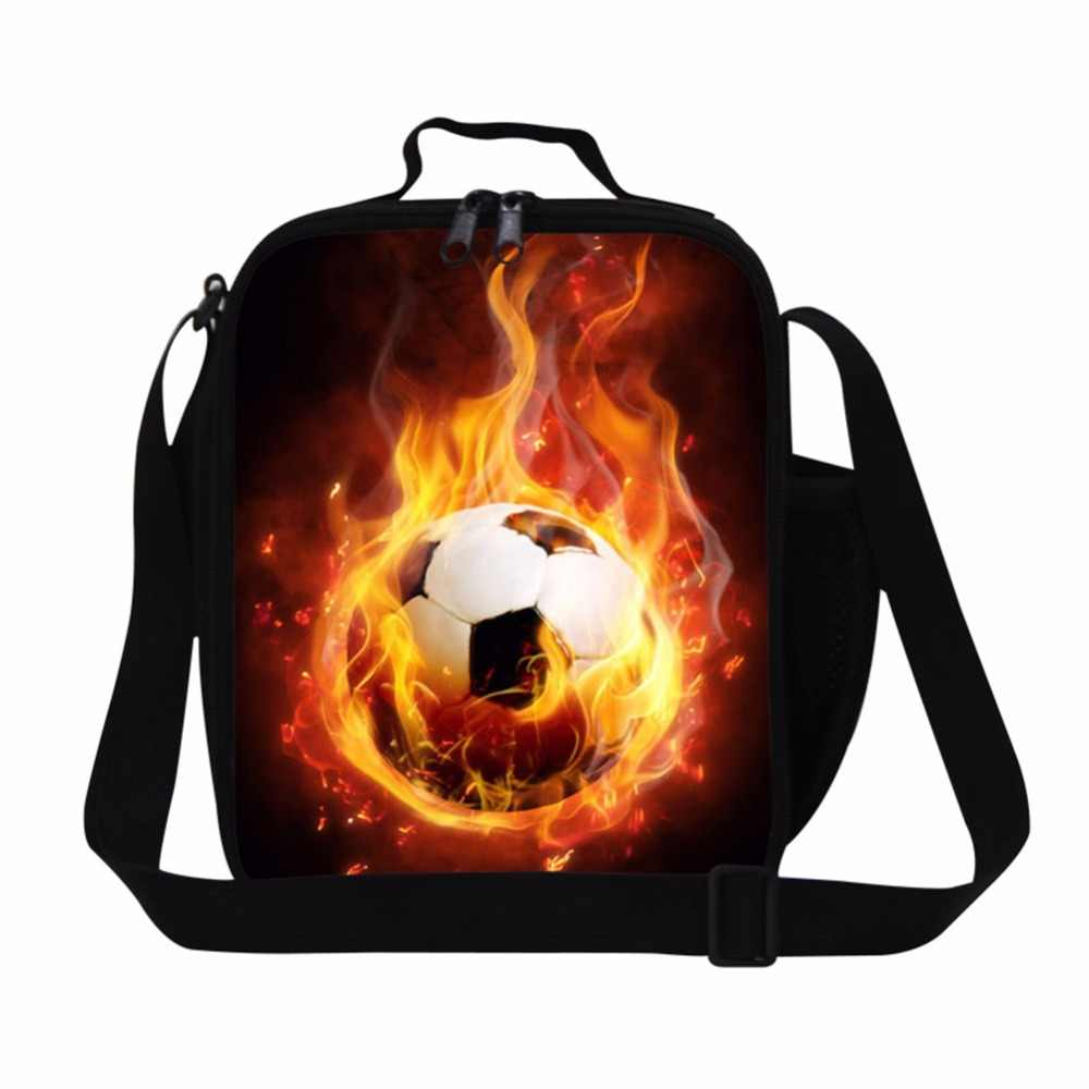 Dispalang insulated lunch bag with shoulder straps ball printed lunch box cooler for children boys Adult small thermal lunch bag