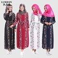 LURRSN Nuevo Abaya Musulmán Vestido Longitud de La Manga Larga Floja alta Elástico Paris Perla Señoras Abaya Túnica Femme Sexy Vestido gasa