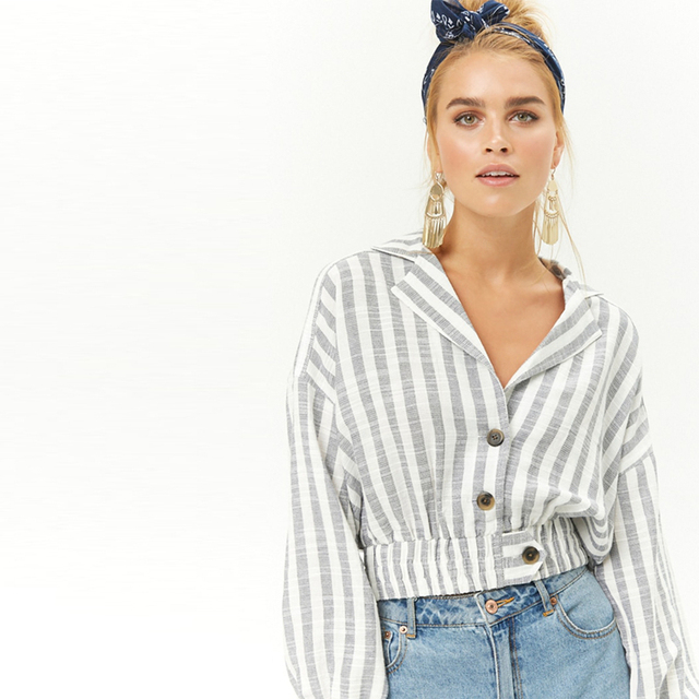 8dd61379c5a Grey white stripe notched collar button up jackets for women ladies autumn  casual oversize loose midriff baring cropped outwear