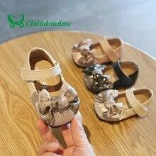 Claladoudou/11,5-15,5 г. Обувь из искусственной кожи для девочек, украшенная стразами, кружевная обувь с бантом для малышей обувь для маленьких девочек на день рождения