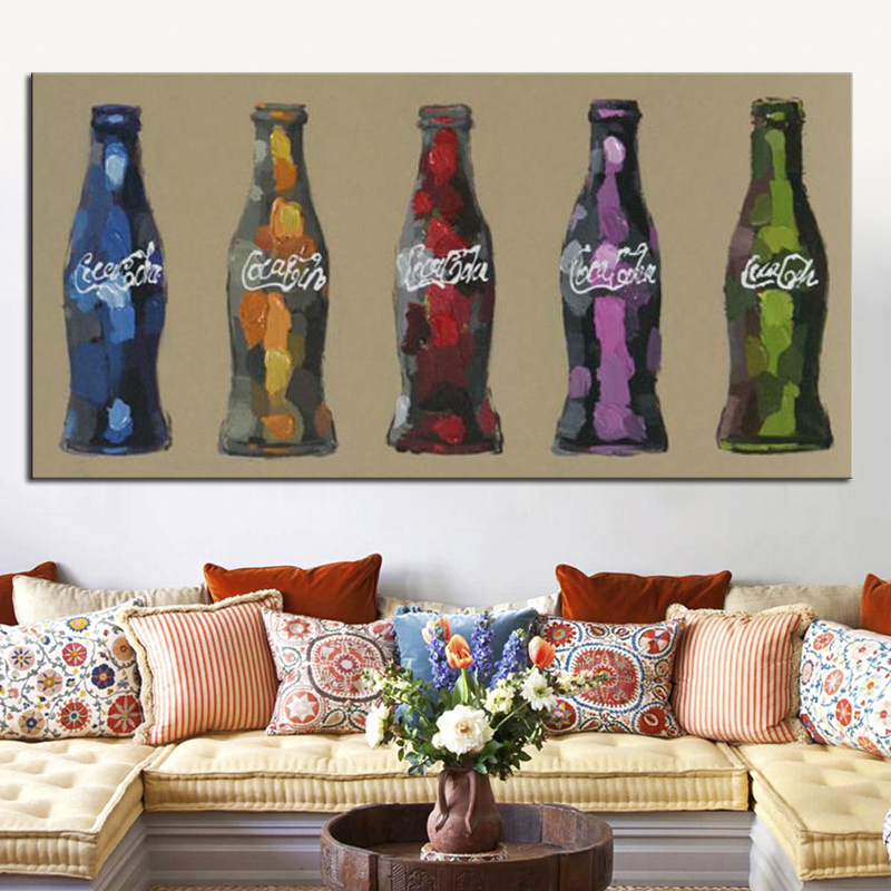 5 Coke Bottles Oil Painting Wall Art for Home Decoration Modern Abstract Still Life 100% Hand Painted Painting Pictures Unframed