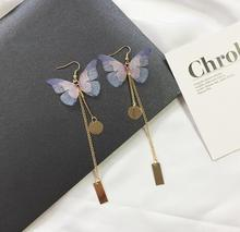 1pcs Long Butterfly Wing Gold Earring for women  cute girl party gift Hanging Drop Earrings 2017 Design  colorful