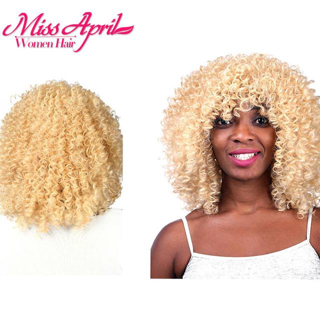 Cheap Good Quality Strawberry Blonde Wigs For Black Women Short Curly Blond  Hair Wig African American Women African Blond Wigs 955bd2f2d