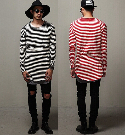 d29f6f09425d6 white black striped long sleeve t shirt base layer gray extended longline oversized  hip hop streetwear brand designer undershirt