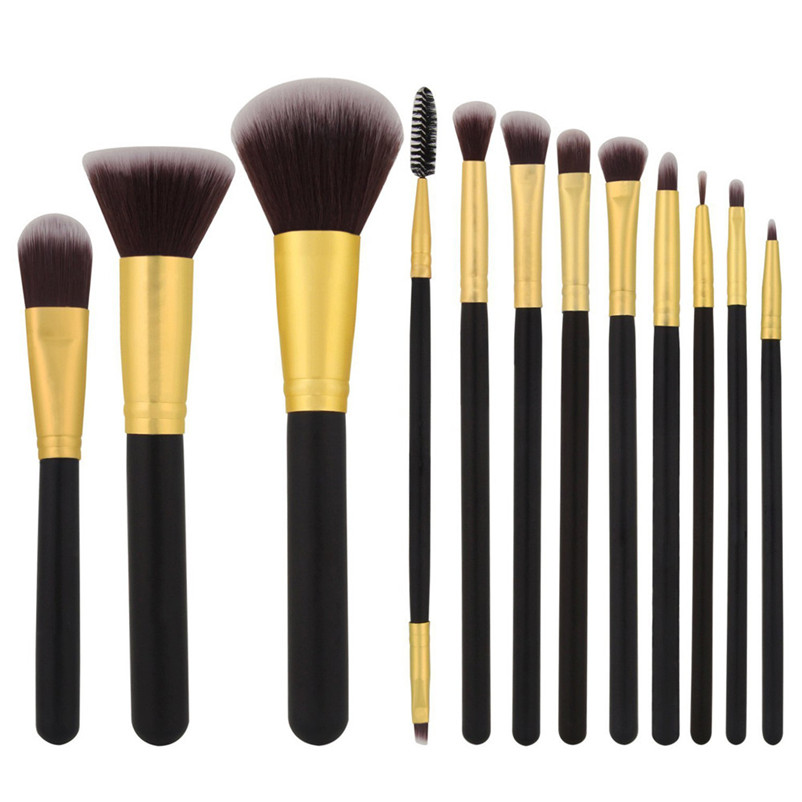 2017 Pro 12 PCS Makeup Brushes Set Tools Make-up Toiletry Kit Brand Make Up Brush Set Case Cosmetic Foundation Brush JU253 new professional 15 pcs makeup brushes set tools make up toiletry kit make up brush set case cosmetic foundation brush
