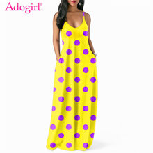 (Ship from US) Adogirl Polka Dots Print Bohemian Dress for Women Sexy V Neck  Spaghetti Straps Loose Casual Maxi Summer Dress Long Vestidos 4751e9a34ba2