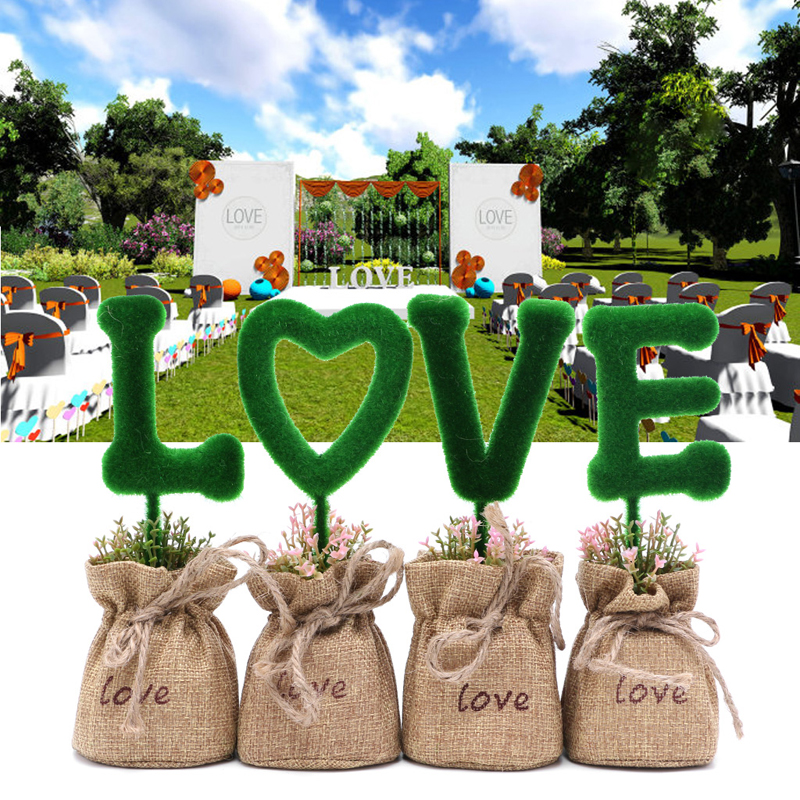 Artificial fake love shape plant grass pot wedding for House decoration products