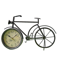American Country Wrought Iron Bicycle Wall Clock Ornaments Vintage Old Bicycle Model Wall Decoration Retro Clock Crafts Gifts