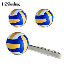 2017 New Beach Volleyball Clips & Cufflinks Set Volley Ball Tie Clip Glass Cabochon Cufflink Handcraft Accessory CT-0031(China)
