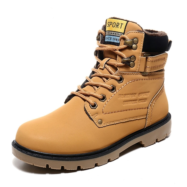 bb8a243b8e358 Venta caliente Hombres de Invierno Botines Botas de Cuero Para Hombres  Zapatos de Trabajo de la