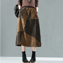 Women Skirts Patchwork Corduroy Casual Color Spring Pockets Johnature Hit Elastic-Waist
