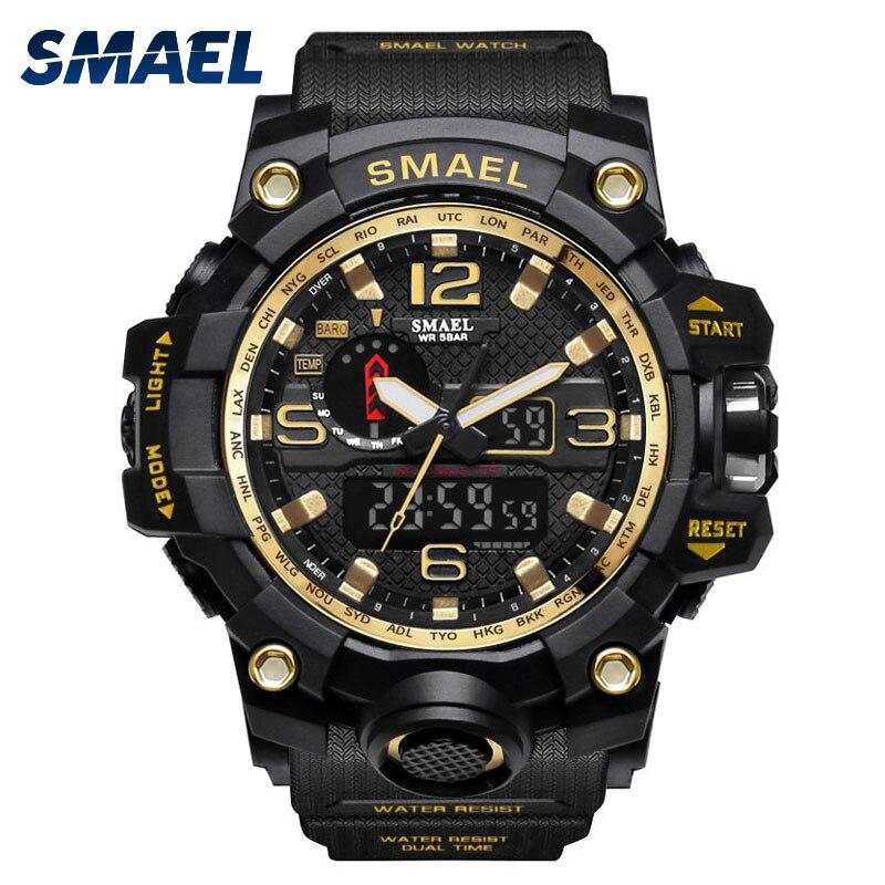 Herren Uhren Gold SMAEL Markenuhr S Shock Digitale Armbanduhr Alarm zeitnehmer 1545 sportuhr Dual Time Clock Männer Militar