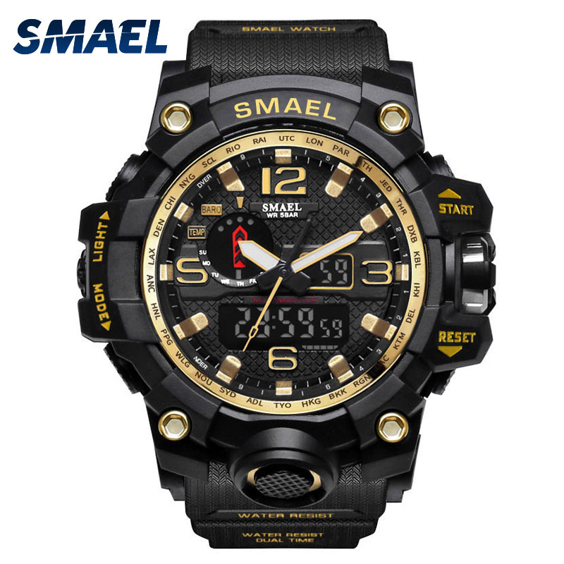 Mens Watches Gold SMAEL Brand Watch S Shock Digital Wristwatch Alarm timekeeper 1545 Sport watch Dual Time Clock Men Militar bewell multifunctional wooden watches men dual time zone digital wristwatch led rectangle dial alarm clock with watch box 021a