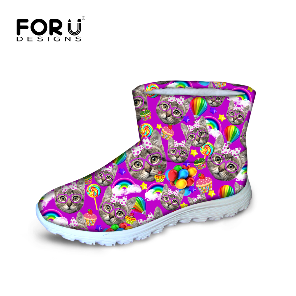 ФОТО Preppy style women winter boots cute kitty cat printed warm snow for female plush ankle botas waterproof rain shoes mujer