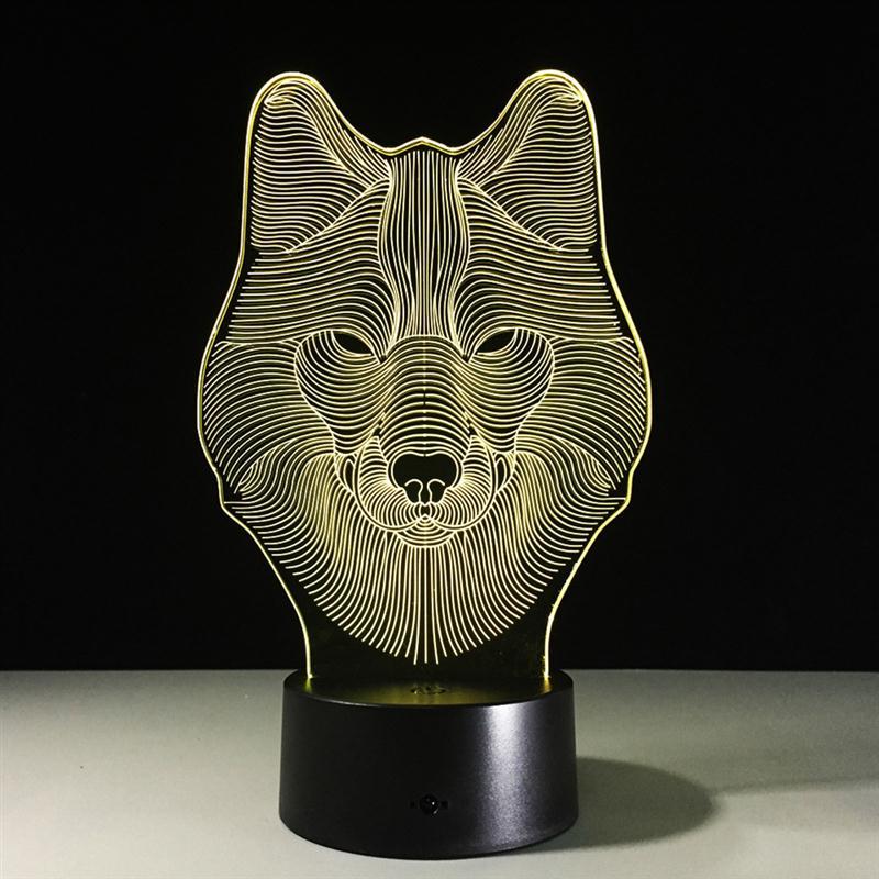Wolf 3D Bedroom Lights LED Night Lamp USB Table Desk Lamps Night Lights  Novelty Home Decor