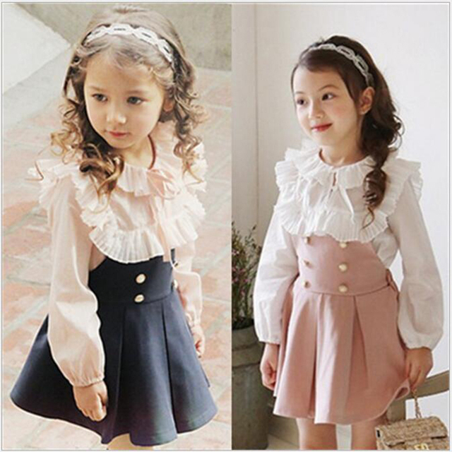 e0feffd4ea203 spring/autumn Cute Girls Clothes Sets Outfits Toddler Kids Lace collar  t-shirt + skirt Clothing Set 2-7y school girls outwear