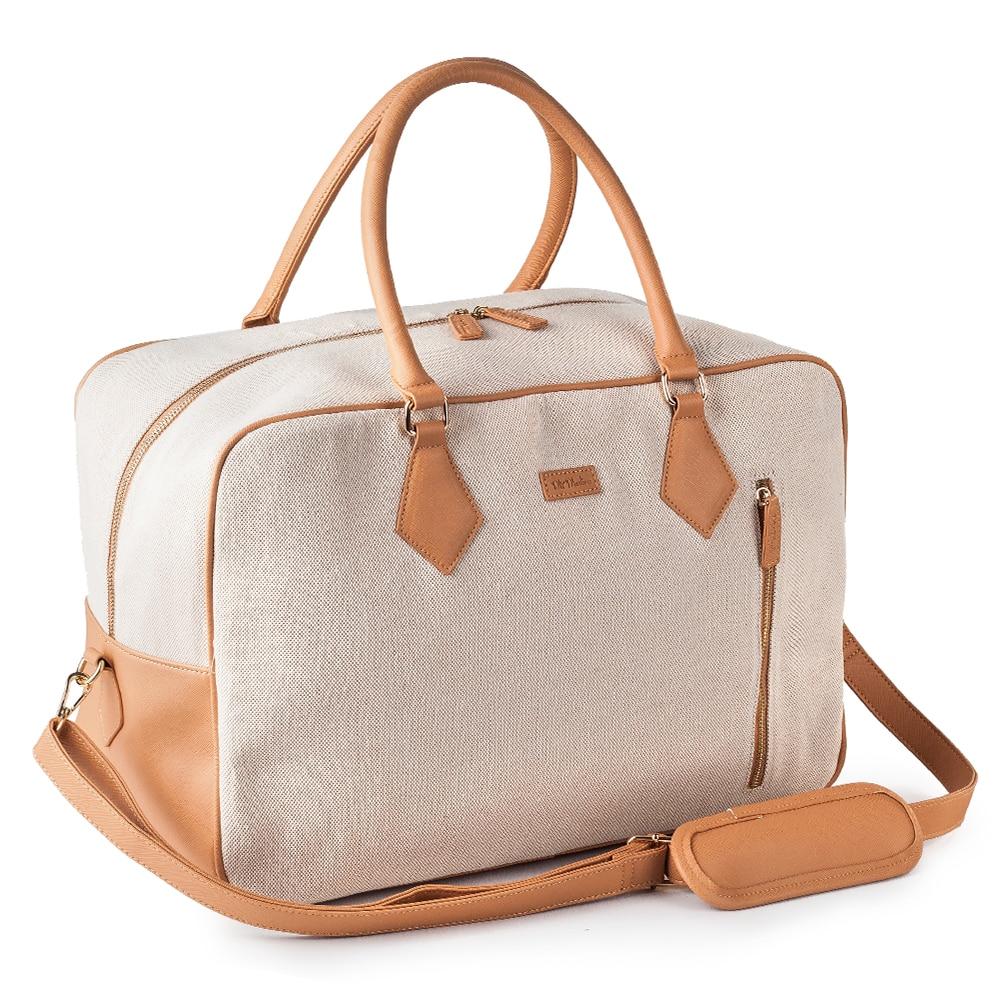 Mealivos Ladies Women Canvas Travel Weekender Overnight Carry-on Shoulder Duffel Tote Bag in Trolley Sleeve