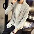 2016 Marca Ropa otoño invierno cálido hombres cardigan suéteres outwear casual tejido de Punto Trenzado escudo hombres ropa XXXL