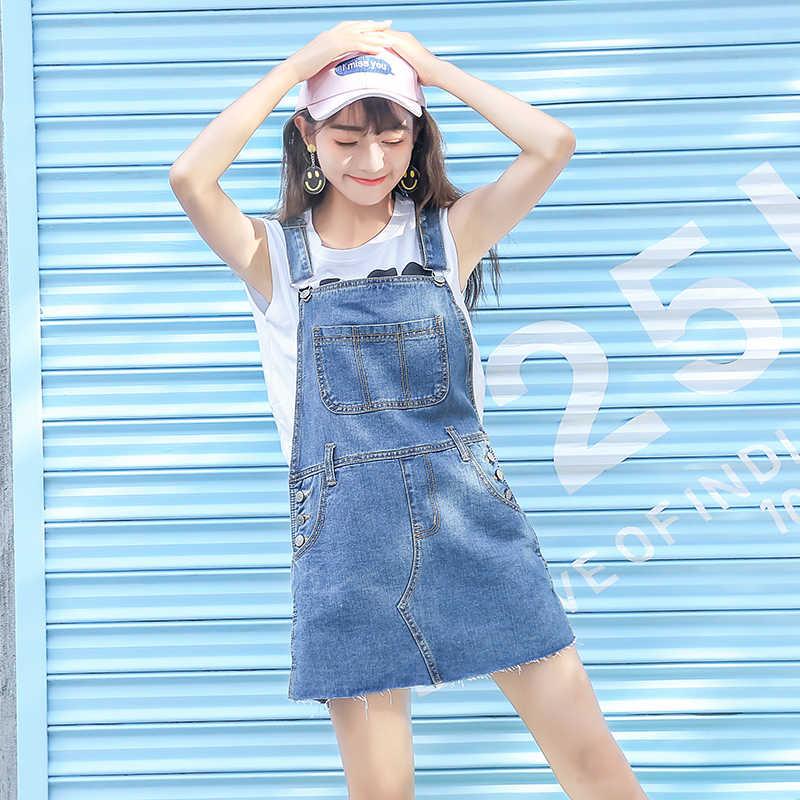 c8cf508fb6a92 ... Summer School Skirt Women Denim Suspender Skirt Jeans skirt Blue Jeans  Casual shoulder-straps Front ...