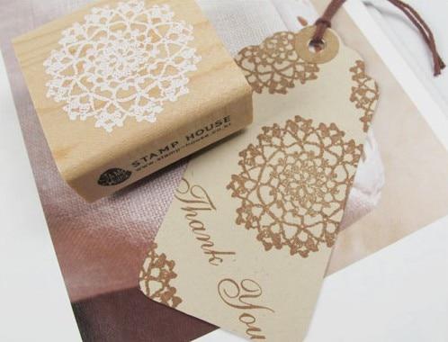 5cm čtvercová krajka Retro Vintage dřevěná kaučuková razítka Scrapbook DIY Květinová krajka dekorační známka Vysoká kvalita korejské kancelářské potřeby