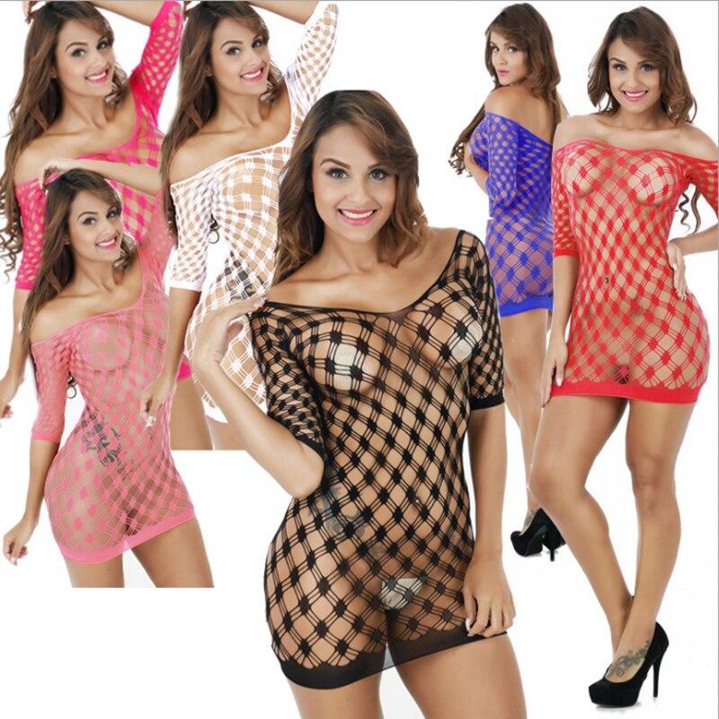 Traje de lencería sexual traje de media manga de rejilla, cuerpo transparente transparente ropa interior encaje cuerpo media, ropa de mujer stripper