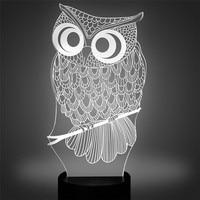 3D Owl LED Desk Table Light Lamp Night Light 7 Color Change Touch Switch Art Sculpture