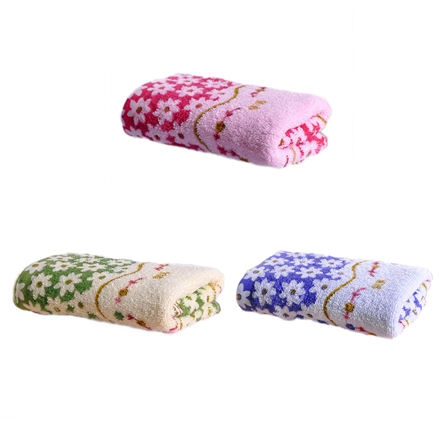 33 * 73cm Cotton Printed Absorbent Towel Dry Hand Face Towels Three colors