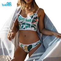 2017 Sexy Floral Thong Biquini Zipper High Neck Swim Bathing Suit Plus Size Swimwear Women Brazilian