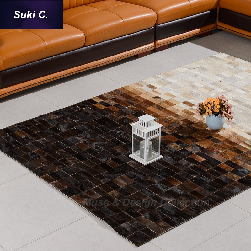 Genuine Leather Design Seamed Patchwork Cowhide Rug Carpet Modern Natrual  Milch White Brown Black Chequer Home