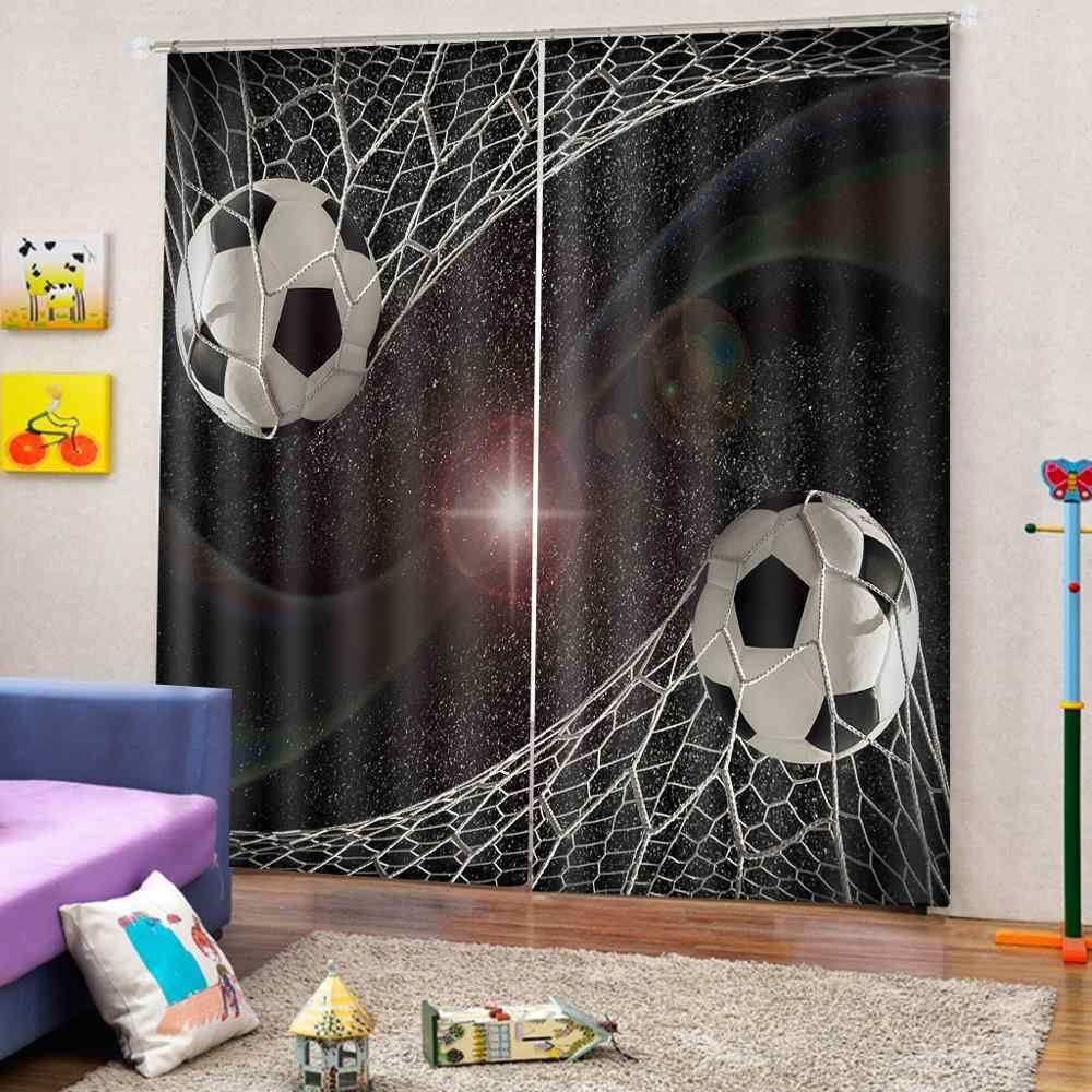 curtains home decor 3d living room bedroom window curtains football photo print curtains