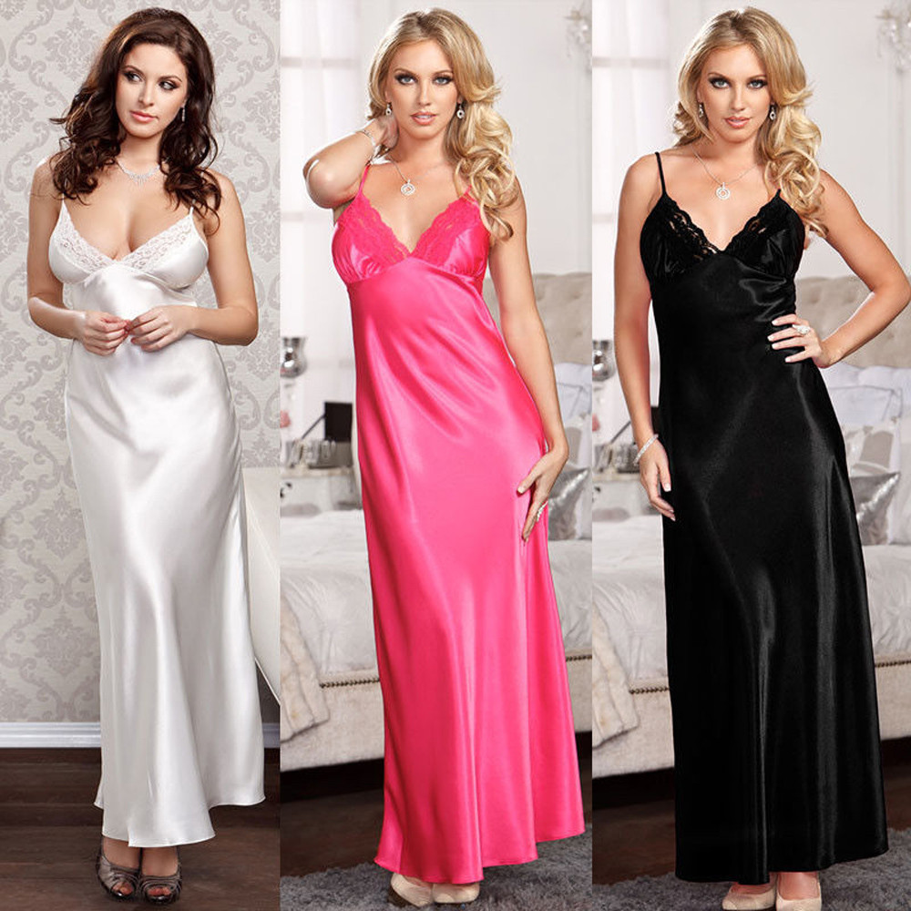 Ladies Women Oversize Satin Long Nightdress Silk Lace Sexy Lingerie Nightgown Sleepwear Sleepshirts