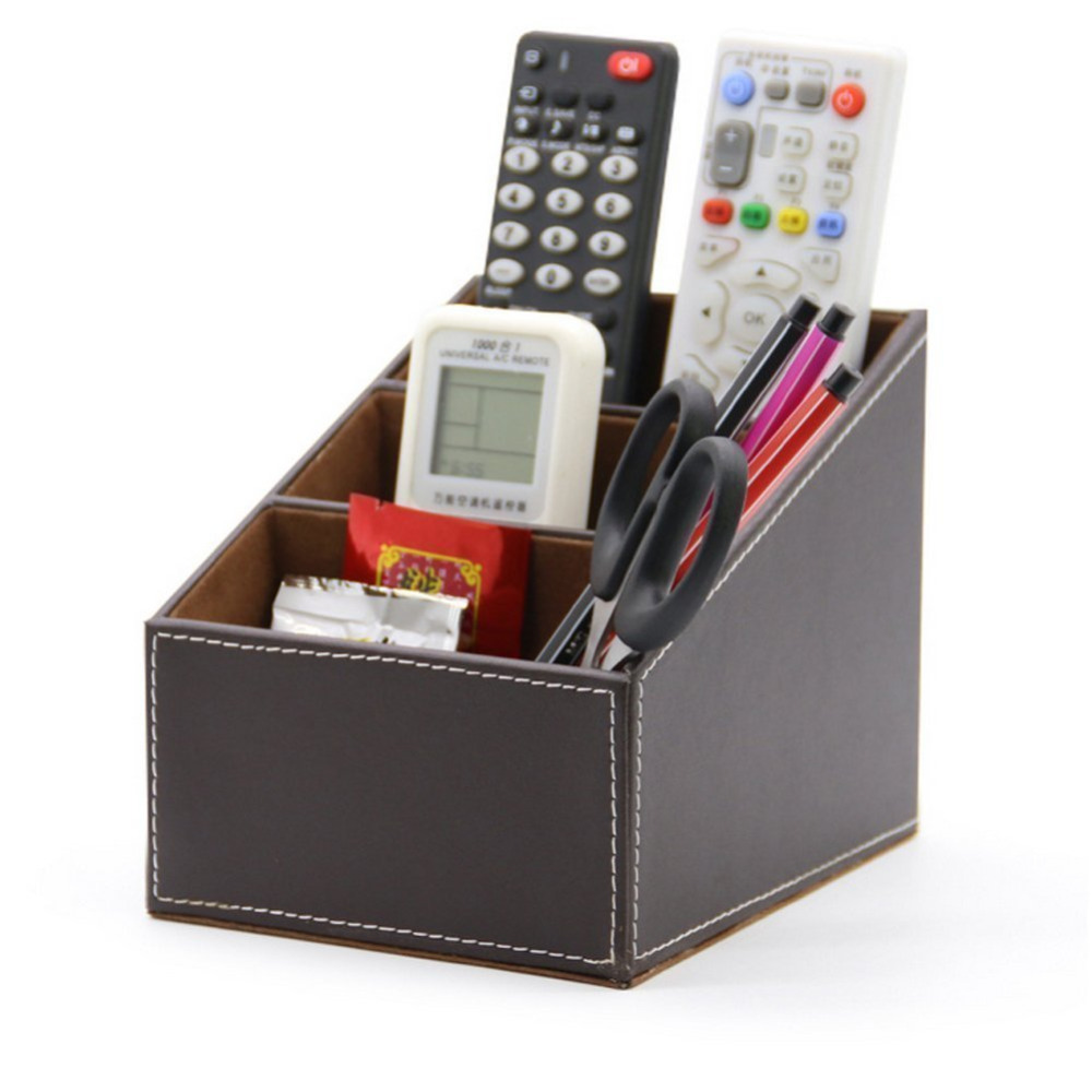 Brown PU Leather Remote control//controller TV Guide//CD organizer//caddy//holder