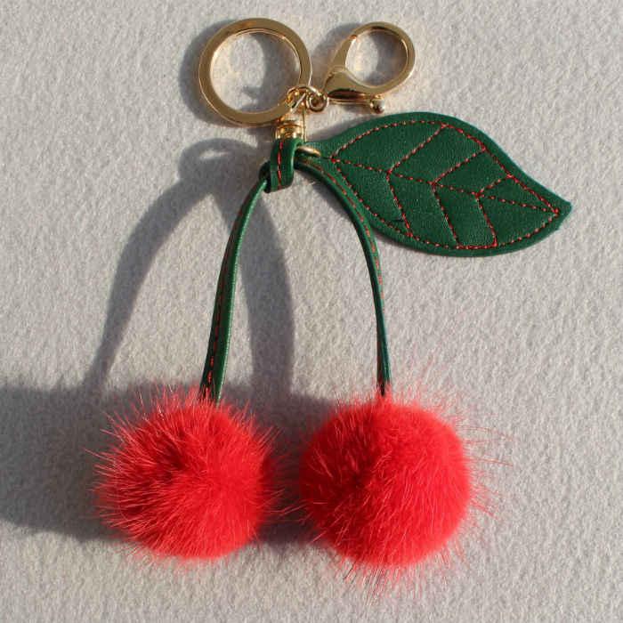 31830bbac07 Funny Fluffy Genuine Mink Fur Pompom Cherry Car Keychain For Keys Fur Pom  Pom Key Chain