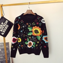 Autumn Winter Luxury Runway Fashion Knitted Sweaters Long Sleeve Floral  Embroidered Casual Pullover tops Female