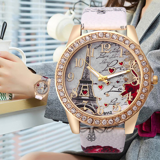 Creative דוגמנות פריז מגדל עלה נשים שעון פנאי יוקרה יהלומי עור רצועת קוורץ שעוני יד Relogio Feminino שעון