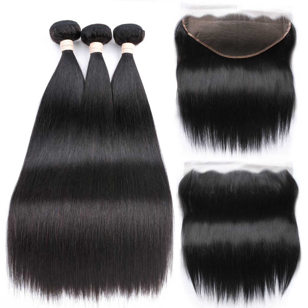 13x6 Frontal With Bundles Straight Human Hair 2 3 Bundles With Closure Peruvian Hair Bundles With