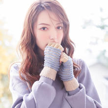 Бинг юань Хао Сюань половина палец женщины перчатки зима теплый корейский Вязаный шерстяной плюс бархат перчатки студент перчатки