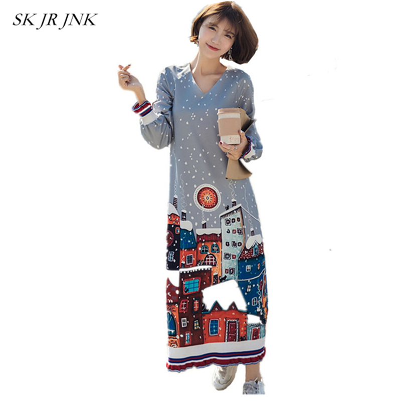 Spring Autumn Women V-Neck Stitching Dress Long Sleeve Cartoon Printed Cotton Dress Fashion Loose Casual Female Dresses LAL19 new arrival 2018 autumn knitted dresses fashion women long sleeve v neck knee length dress casual solid female dress clothes