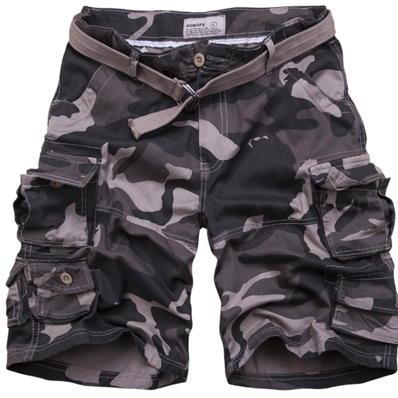 60411a9966 Men's Good Quality 100% Cotton Army Green Camouflage Cargo Shorts New Male  Multi-pocket Knee Length Tooling Shorts Shorts+Belt