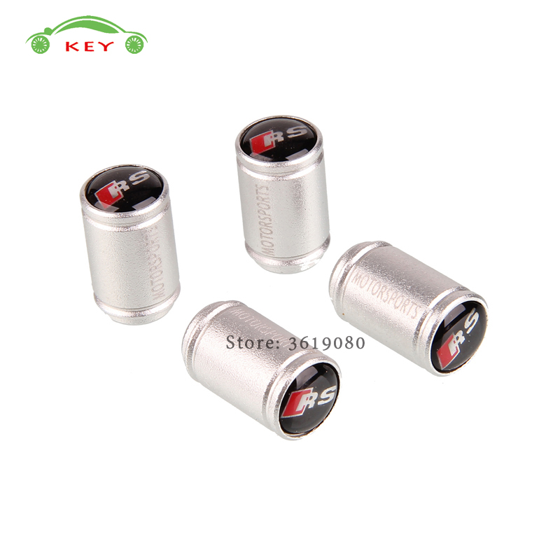 For Audi RS Logo Stainless Steel Car Styling Tire Stem Valve Caps for RS4 RS6 RS3 RS5 RS7 A3 A4 B6 B8 Q5 Matt Metal Wheel Covers