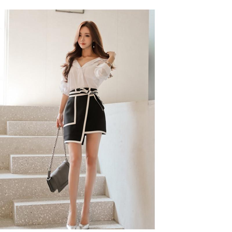 Brand Women Sexy Bow Skirt Asymmetrical Mini Black White Patchwork High Street Fashion Lady Work Wear Skirts
