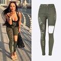 Militar Jeans Stretch de Cintura Alta Mulheres 2016 Mulheres Verão Jeans Skinny Destruídas Rasgado Calças Mulheres Sexy Exército Verde KWA0098-5