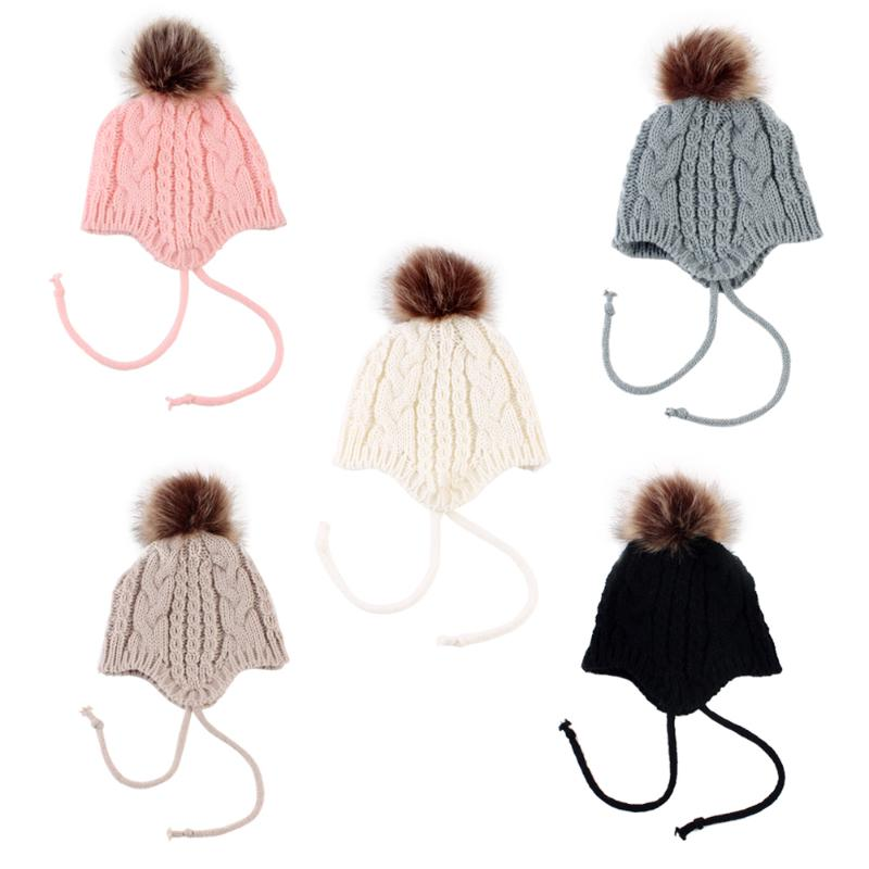 CHINATERA Lovely Baby Winter Ear Protection Hats Warm Knitted Solid Girls Boys Kids Fur Ball Beanies Cap Christmas Gifts