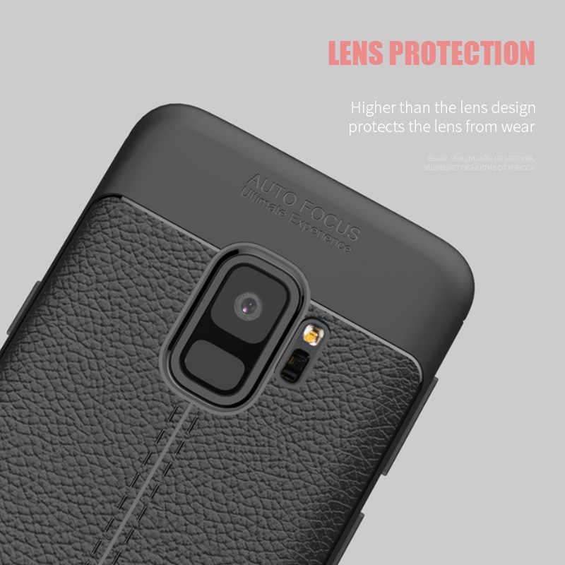 En cuir de luxe en fibre de carbone en cuir téléphone étui pour samsung Galaxy S9 S8 S10 Plus Note 9 8 étui pour samsung S7 S6 Bord S10E Cas