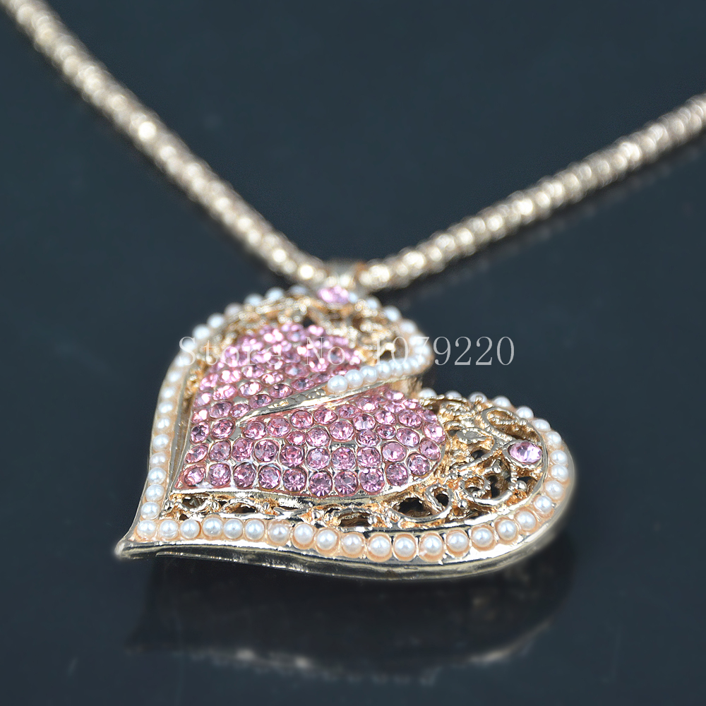 New Heart Beads Sweater Necklace Jewelry Crystal Women Long Necklace Pendants Rhinestone Chain Christmas Valentines Lover Gift
