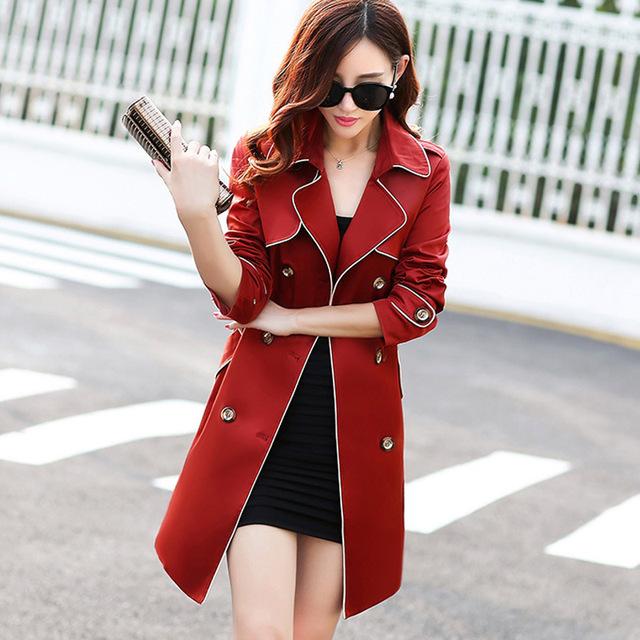 2017 nova Primavera Casaco Trespassado de Slim Trench Coat Para As Mulheres mulheres Faixas casaco Cáqui Blusão Casaco Feminino Mulheres H31303
