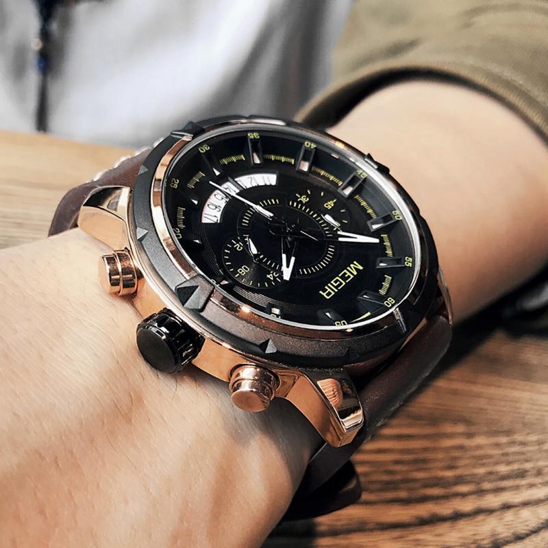 MEGIR Men Creative Fashion Quartz Wrist Watch Leather Strap Waterproof Men's Military Sport Watches Clock Male Relogio Masculino недорго, оригинальная цена