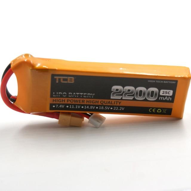 TCB RC lipo battery 7.4v 2200mAh 25C 2s for airplan rechargeable AKKU Free shipping
